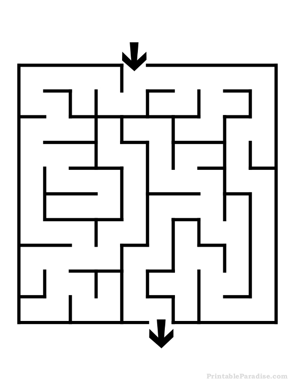 printable square maze easy difficulty