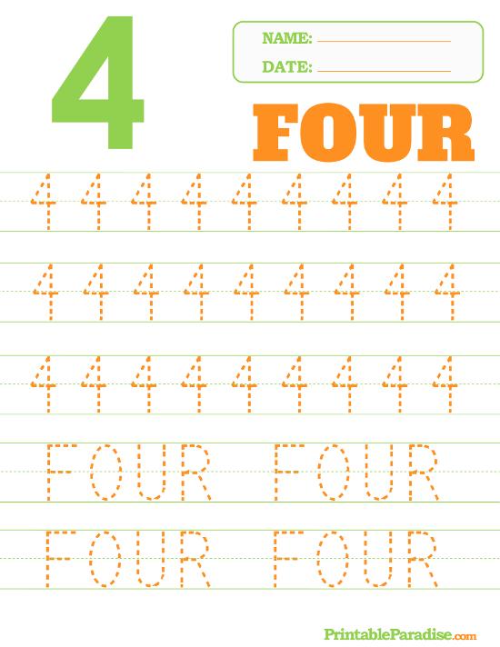 Printable Number 4 Tracing Worksheet