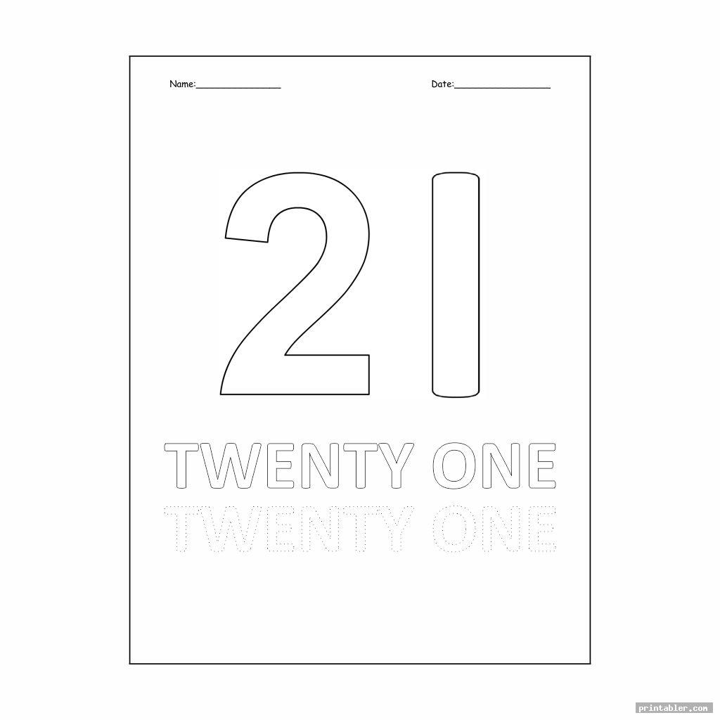 Number 21 Worksheet Printable