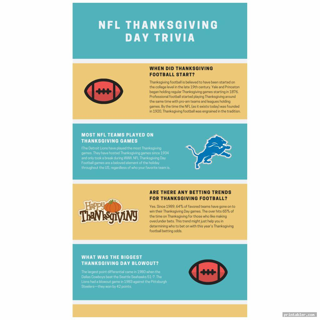 Nfl Thanksgiving Day Trivia Printable Games
