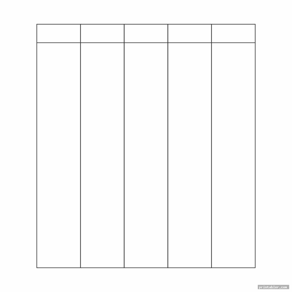 Printable Column Template 5 Columns