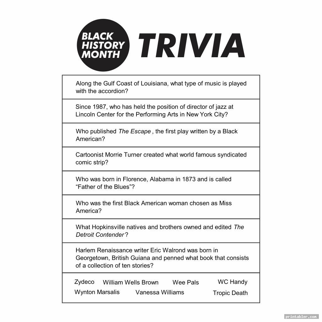 Black History Month Trivia Printable