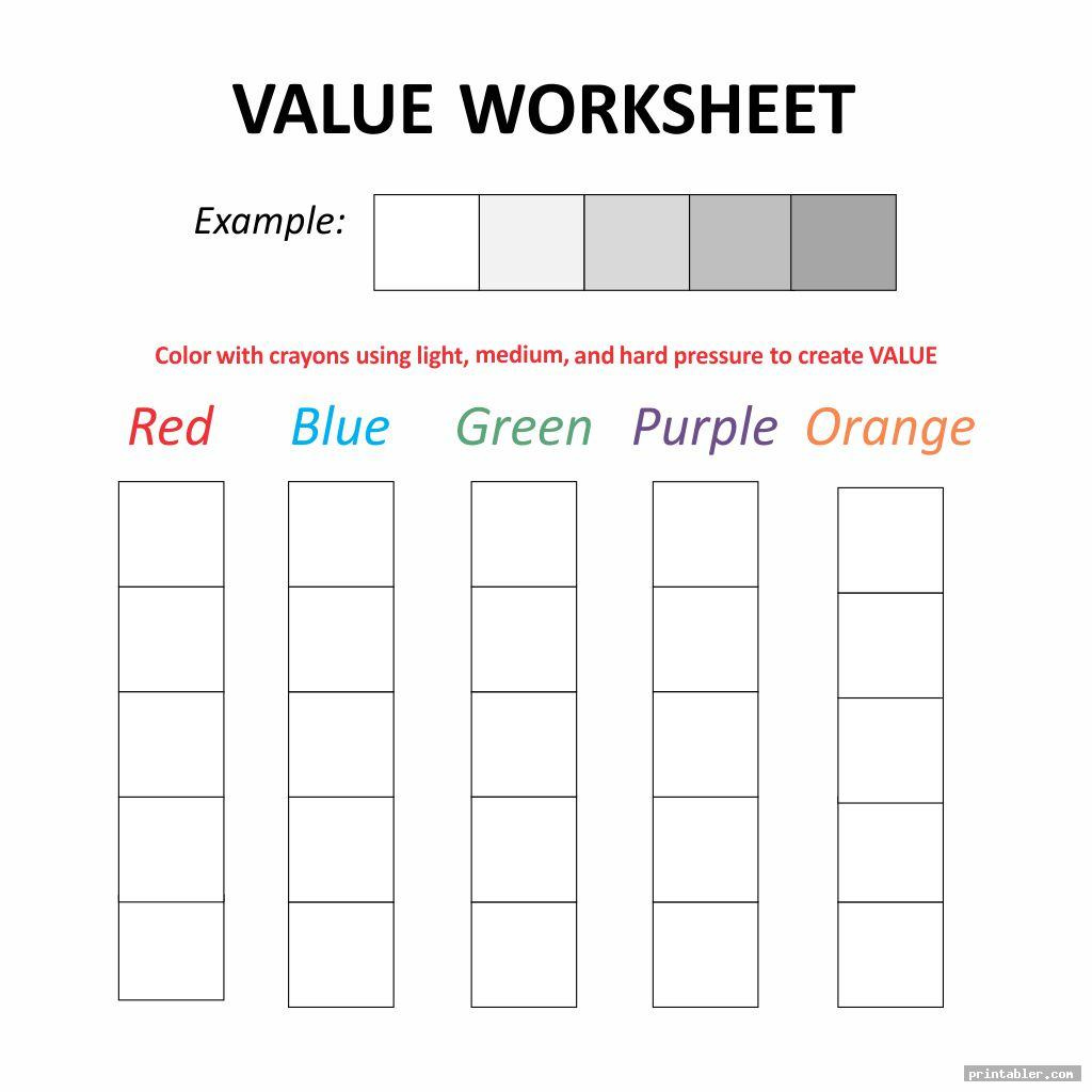 Value Scale Worksheet Printable