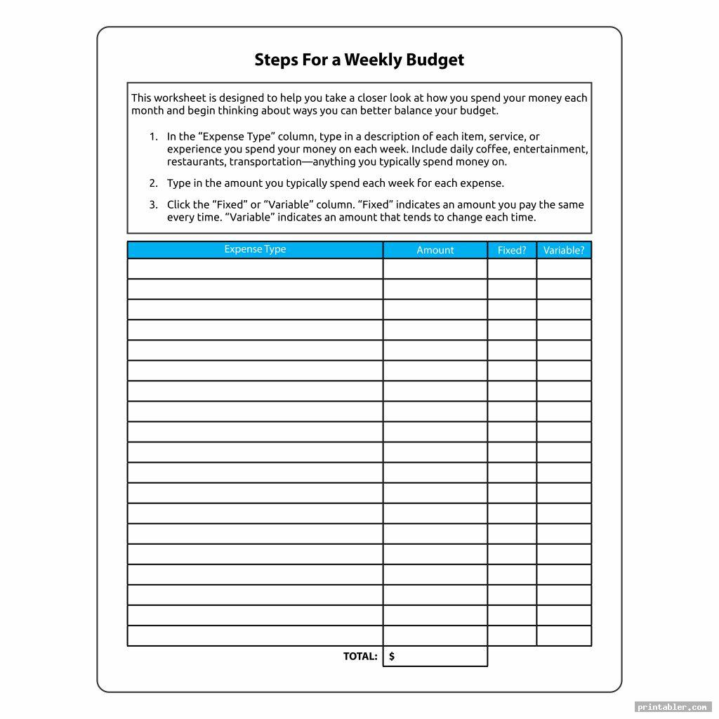 Weekly Budget Worksheet Printable