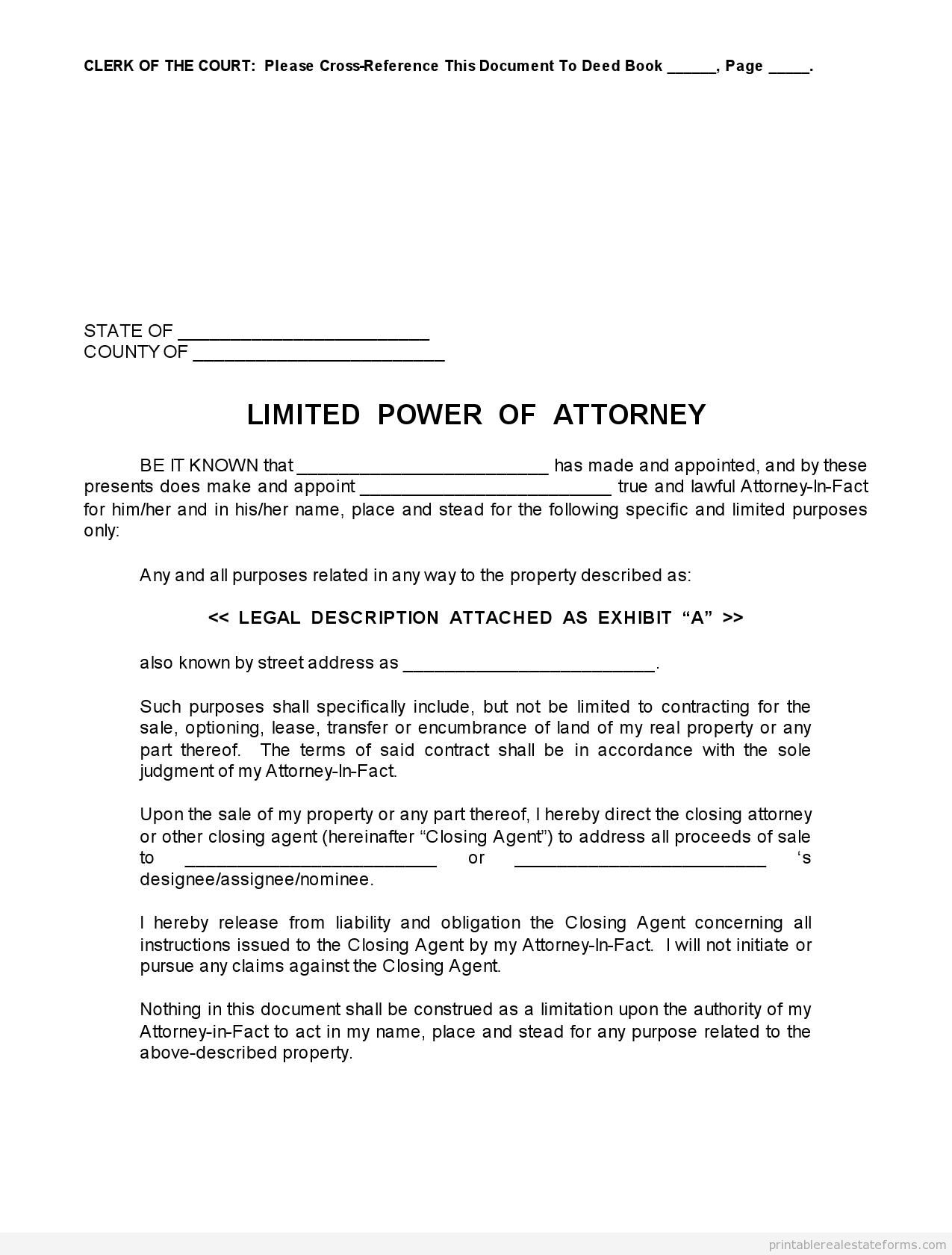 Free Printable Limited Power Of Attorney Forms Sample