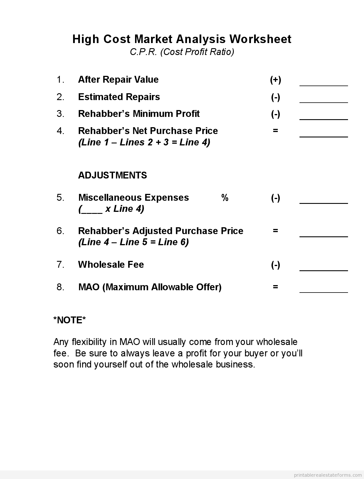 Free Printable High Cost Marketysis Worksheet