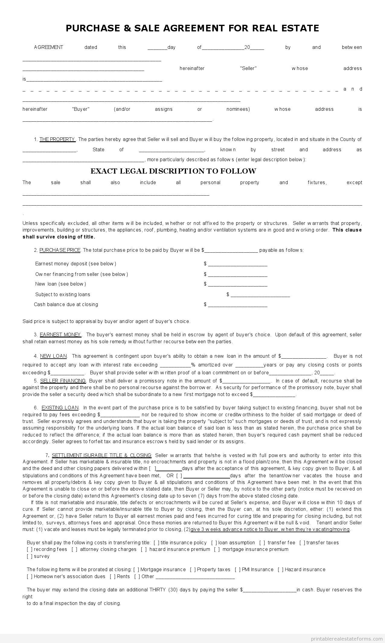 Subject To Contracts Samples For Real Estate Printable