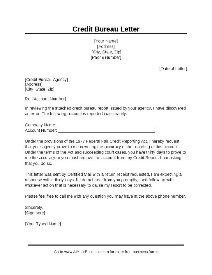 Dispute Letter To Credit Bureau Template Printable Receipt Template