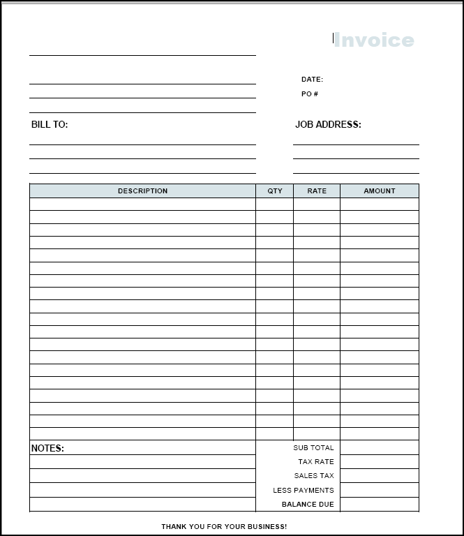 Free Printable Invoices Templates Blank - printable ...
