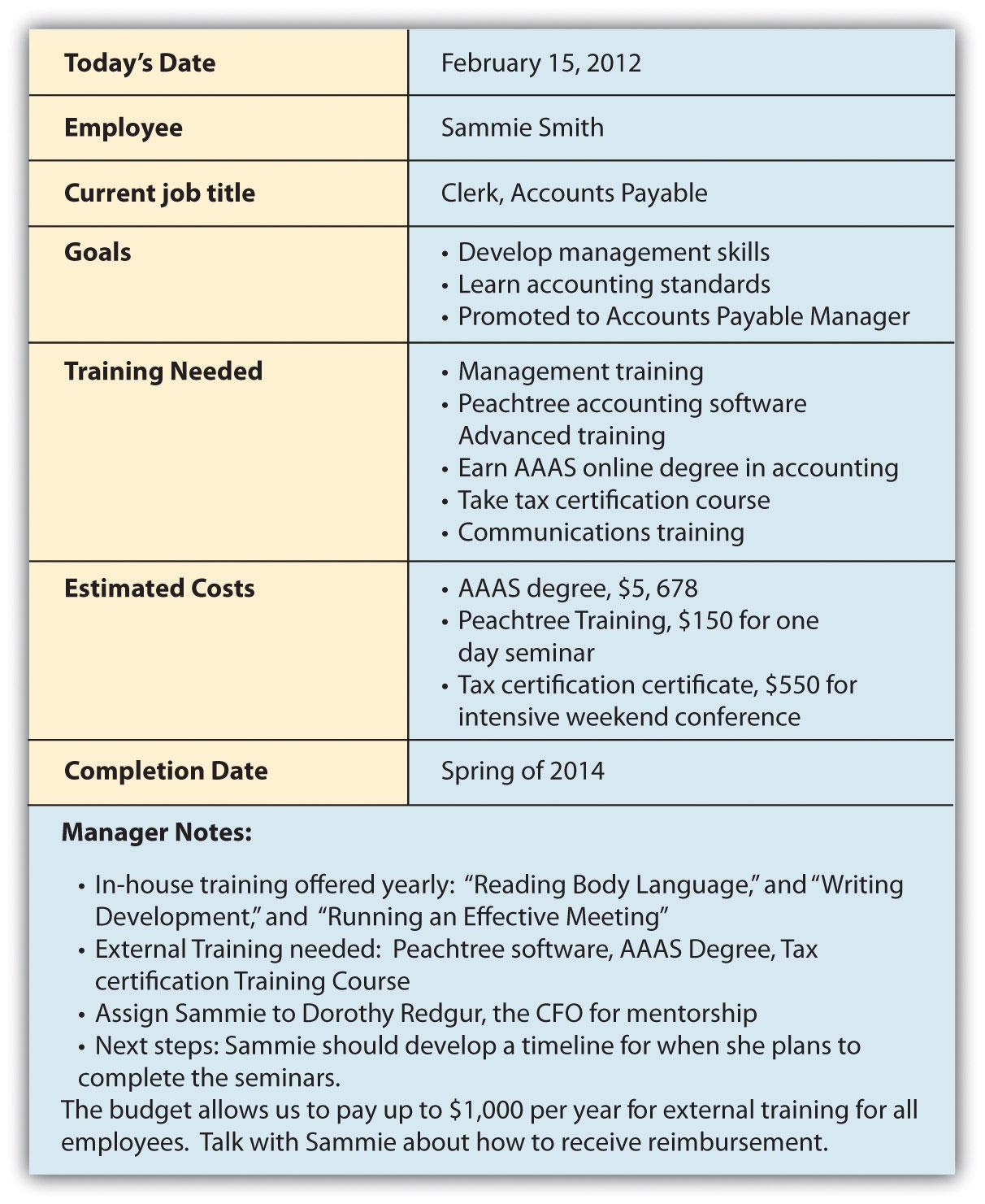 Individual Employee Training Plan Template