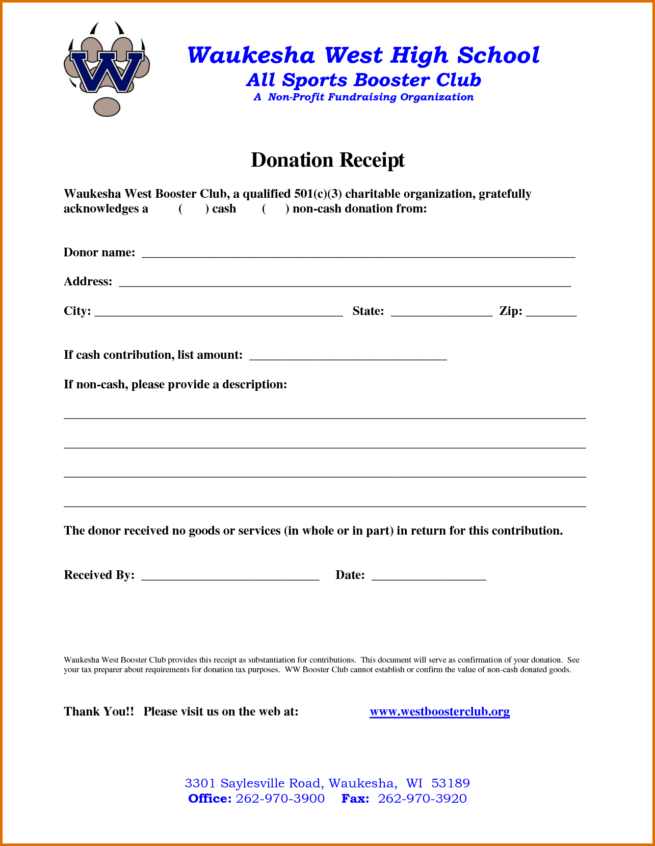 Non Profit Donation Receipt Template Printable Receipt