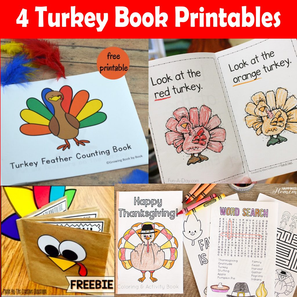4 Turkey Book Printables For Thanksgiving