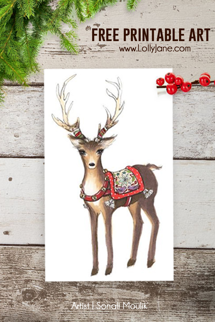 Free Christmas Reindeer Art Printables 4 Mom