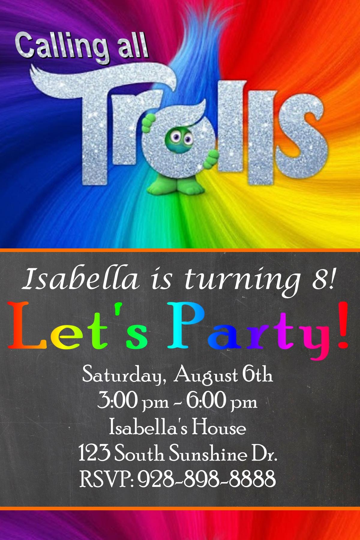 free trolls birthday party invitation