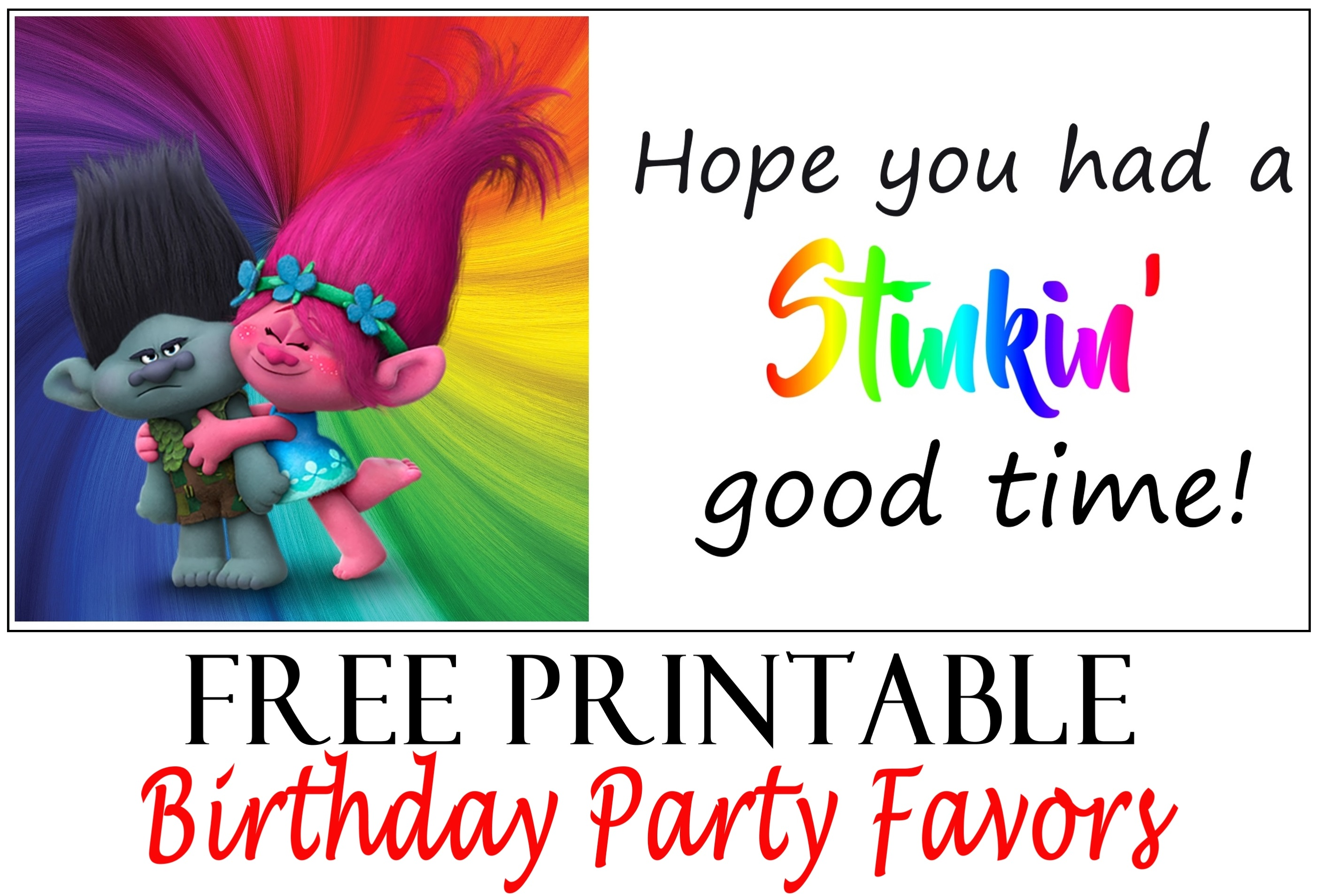 Trolls Birthday Party Printable Tags