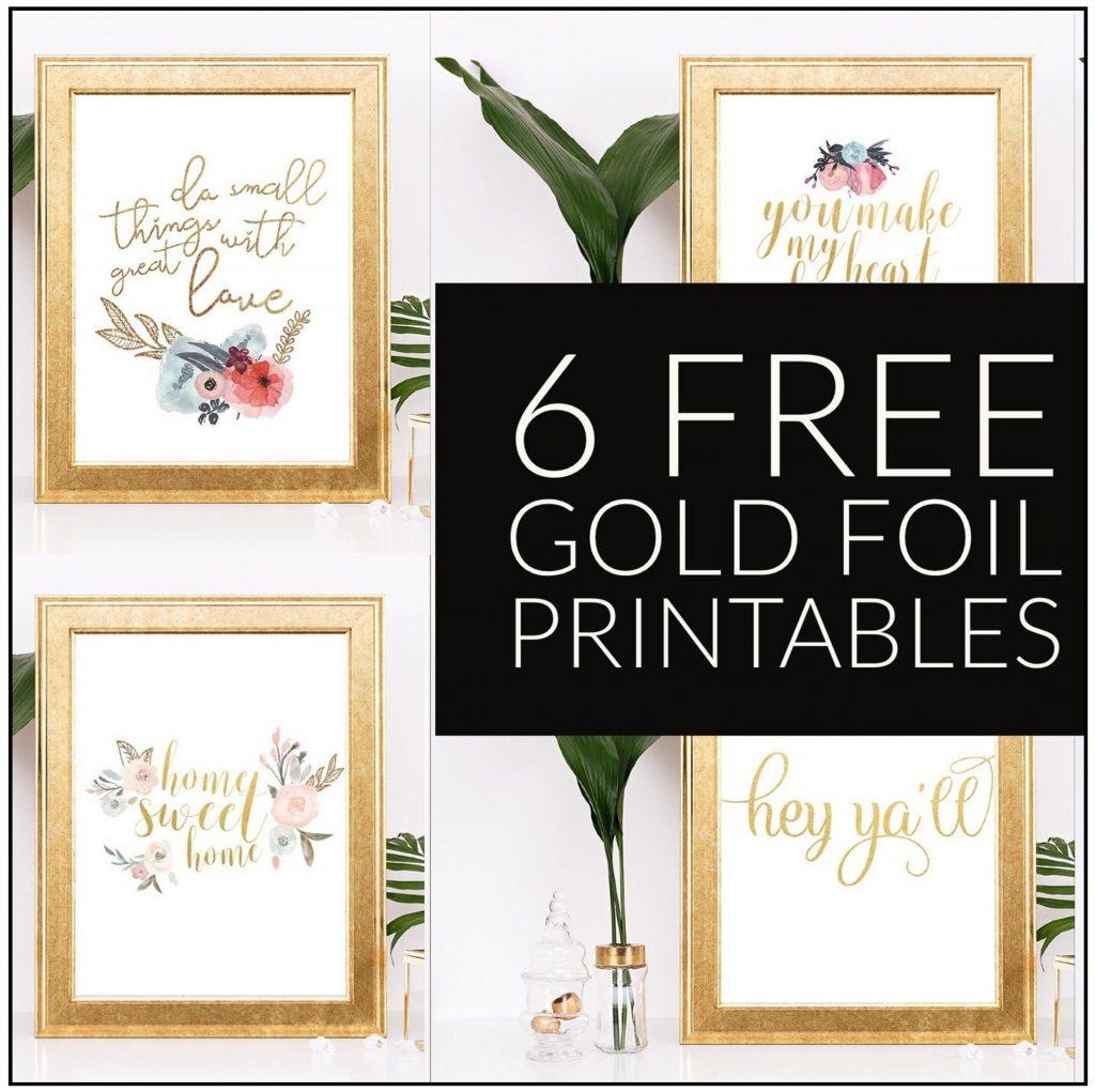 6 Free Gold Foil Home Decor Printables