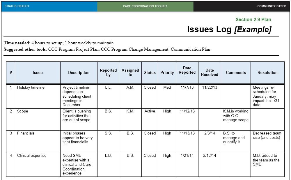 Sample Issue Log