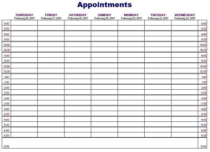 12 free sample appointment schedule templates printable samples
