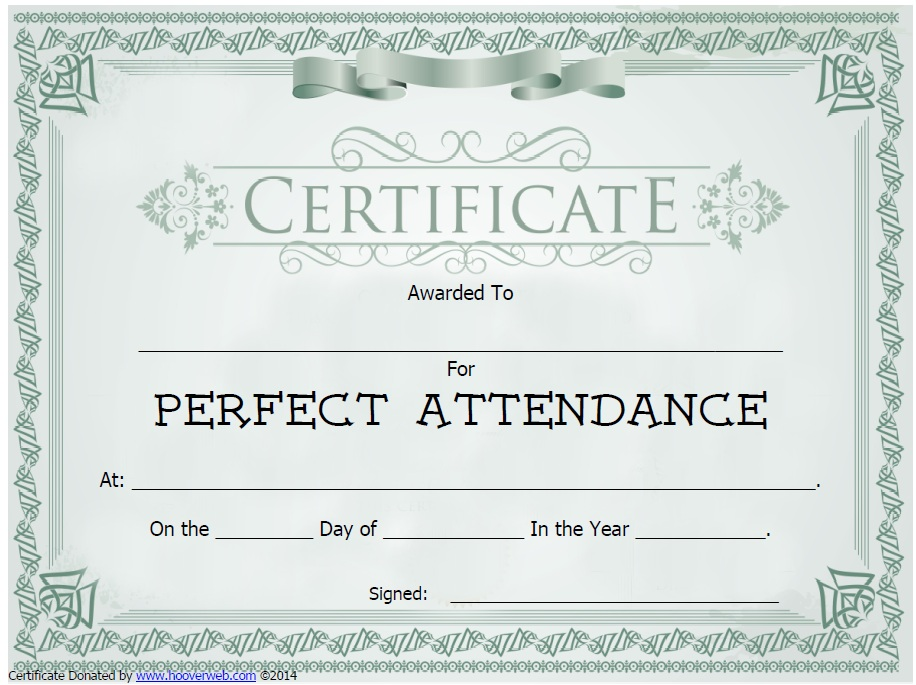 Wild image with regard to perfect attendance certificate printable