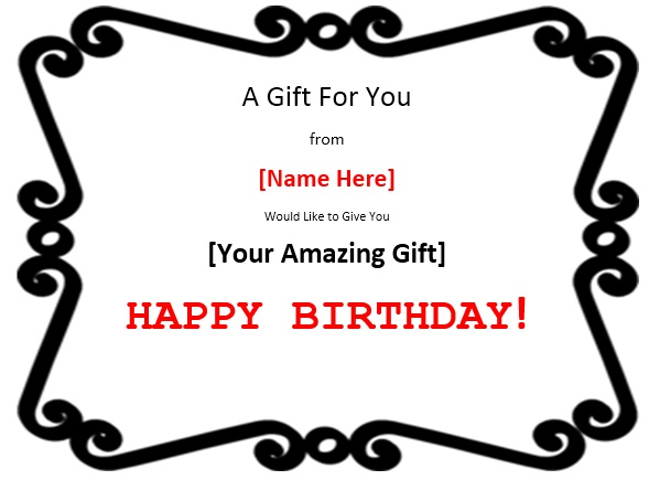 Free Sample Birthday Gift Certificate Templates  Printable Samples