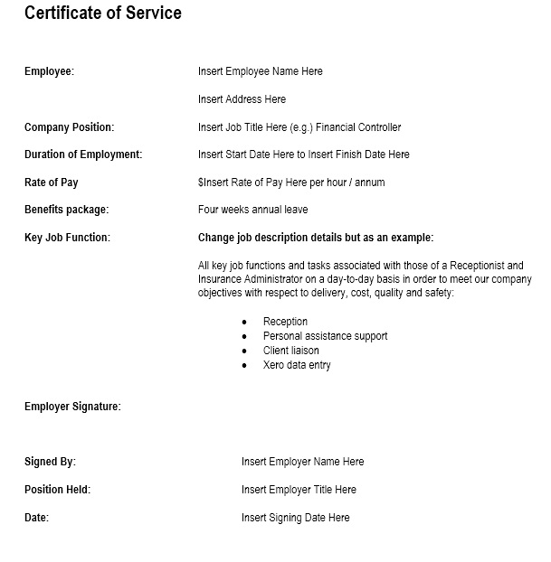 Certificate Of Employment Template Nz Image Gallery - Hcpr