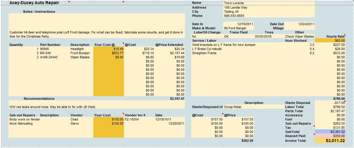 auto repair estimate template excel