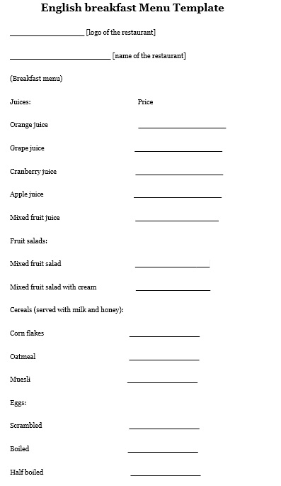 Here Is Preview Of Another Sample Breakfast Menu Template Created Using MS  Word,  Menu Templates Free Download Word
