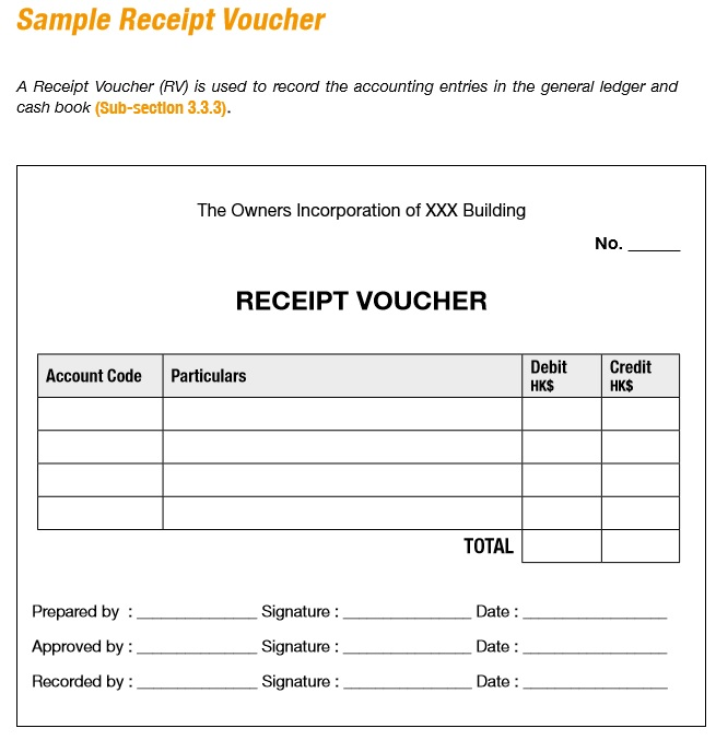 Free Sample Receipt Voucher Templates  Printable Samples