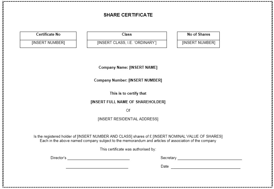 12 Free Sample Stock Shares Certificate Templates - Printable Samples