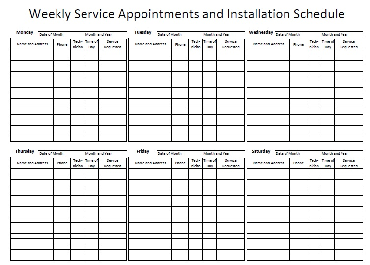 12 Free Sample Appointment Schedule Templates – Printable Samples