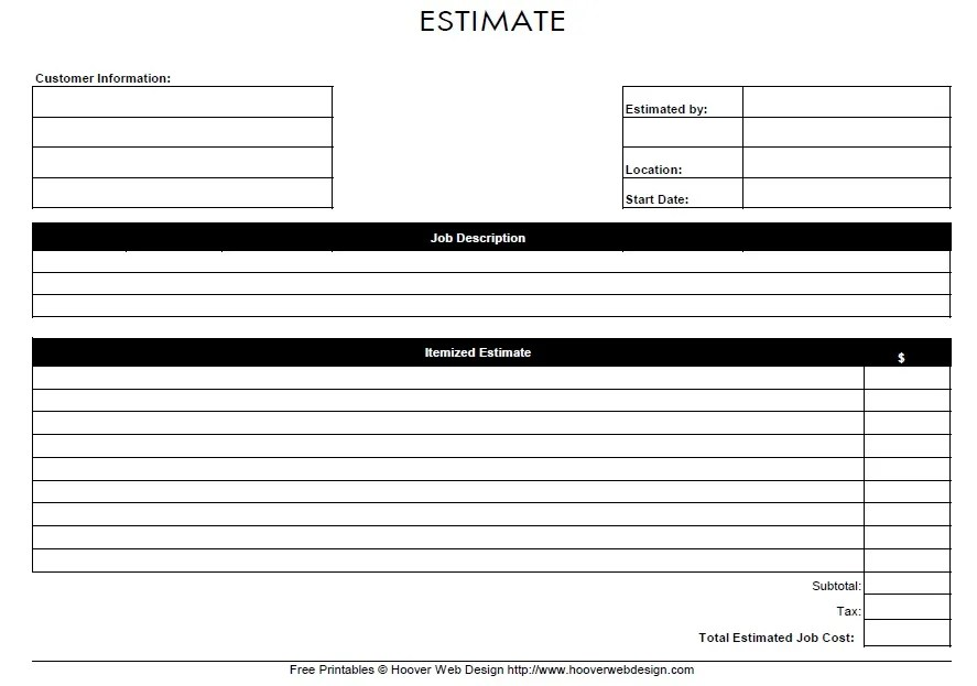 Free Sample Job Estimate Form  Printable Samples