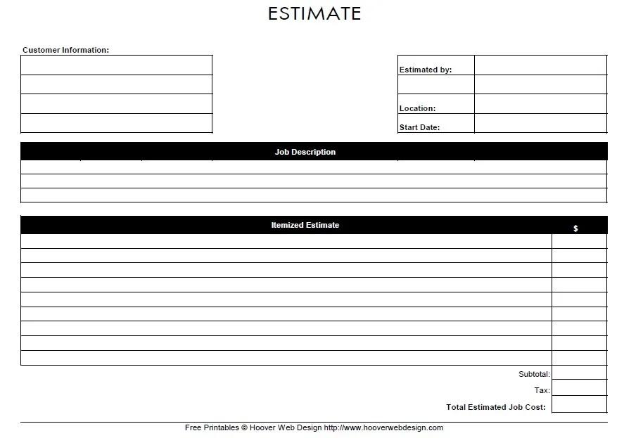 13 free sample job estimate form printable samples. Black Bedroom Furniture Sets. Home Design Ideas