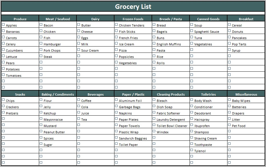 Free Sample Food Shopping List Templates  Printable Samples