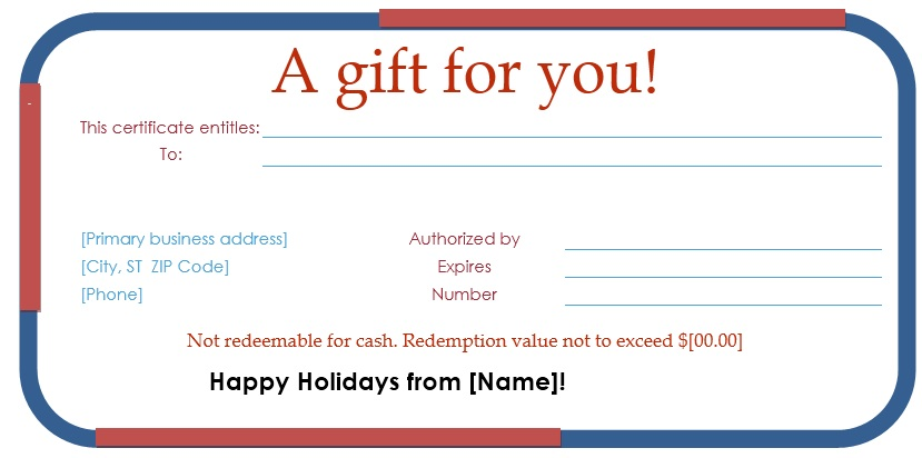 12 Free Sample Holiday Gift Certificate Templates Printable Samples