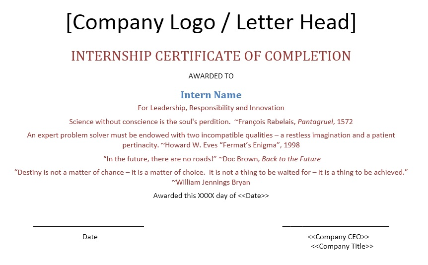 11 Free Sample Internship Certificate Templates - Printable Samples