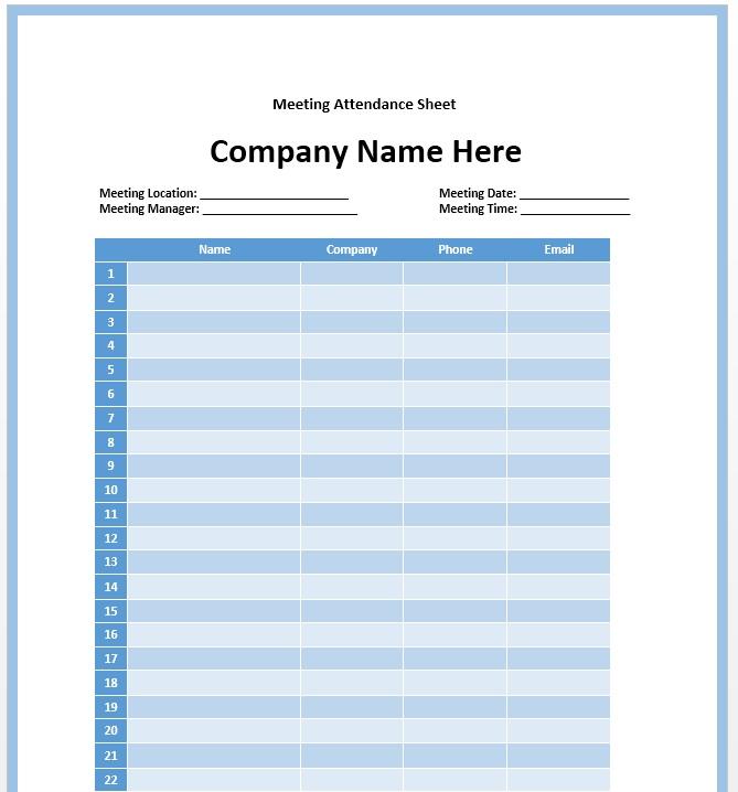 meeting attendance list template Template