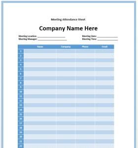 11 Free Sample Meeting Attendance Sheet Templates - Printable Samples