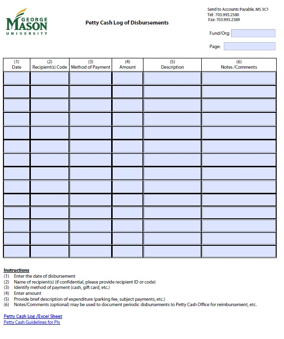 10 Free Sample Cash. Petty Cash Log Templates ...
