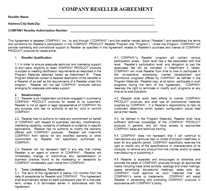 13 Free Sample Private Label Agreement Templates Printable Samples – Sample Reseller Agreement