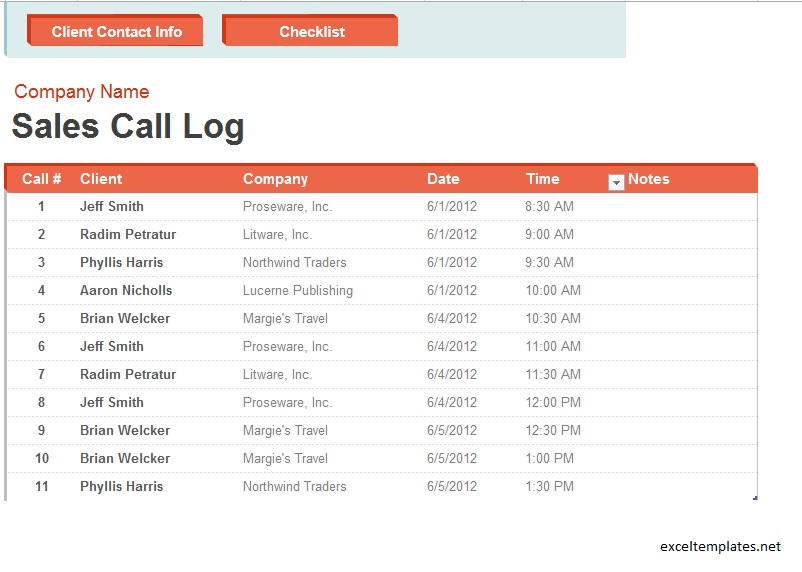 Sales Call Log Template - Ex