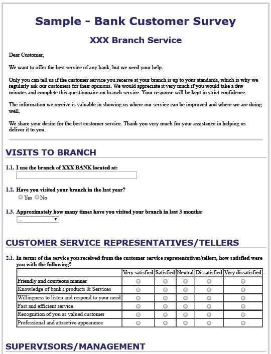 13 Free Sample Bank Customer Survey Printable Samples – Sample Customer Survey