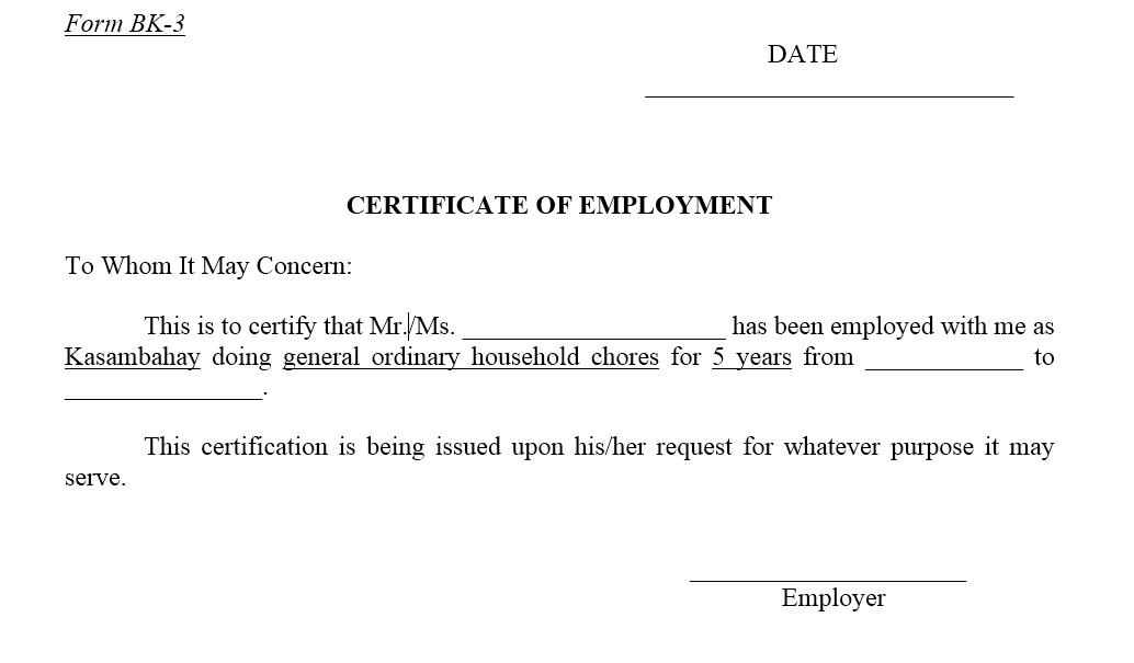 employment certificate template