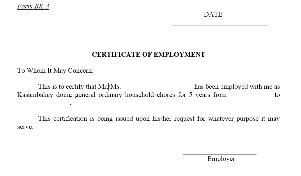 12 Free Sample Employment Certificate Templates  Employment Certificate Sample