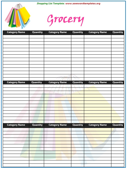 Shopping List Template. Blank Grocery List Template Grocery List