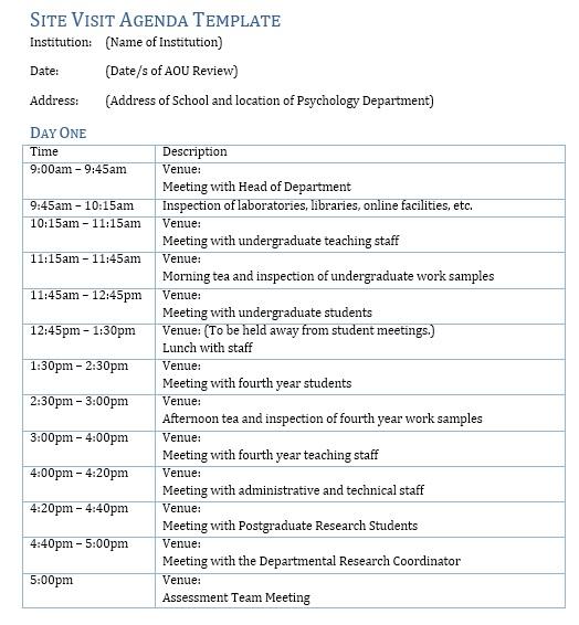 microsoft office agenda template
