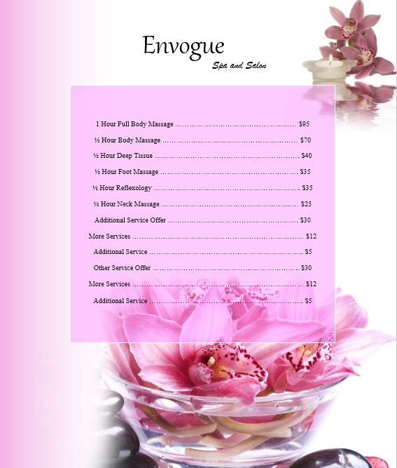 Free Sample Spa Price List Templates  Printable Samples