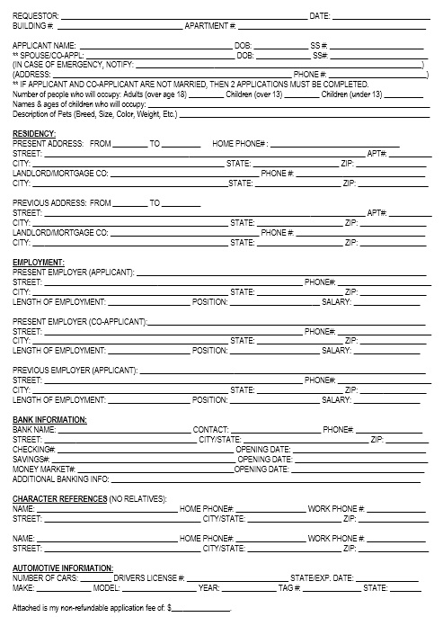 12 Free Sample Tenant Verification Form - Printable Samples