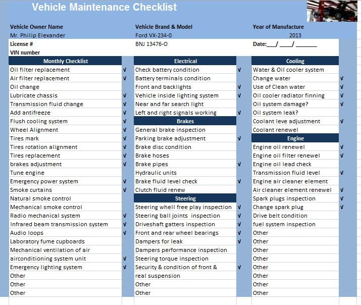 12 Free Sample Car Maintenance List Templates – Printable Samples