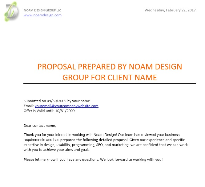 Free Sample Website Design Proposal Templates  Printable Samples