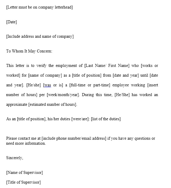 sample of work certificate letter